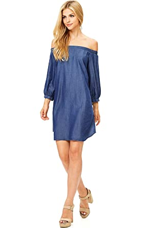 b172a4d86dd7 Cest Toi Women s Off-Shoulder 3 4 Sleeve Chambray Dress at Amazon ...