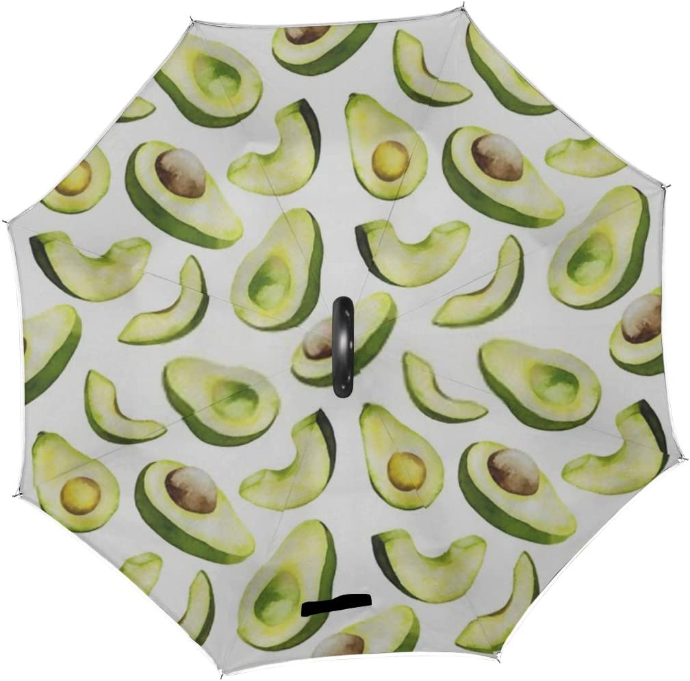 Double Layer Inverted Inverted Umbrella Is Light And Sturdy Avocado Seamless Pattern Fresh Tasty Isolated Reverse Umbrella And Windproof Umbrella Edg