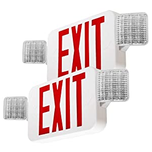 LFI Lights - 2 Pack - UL Certified - Hardwired Red LED Combo Exit Sign Emergency Light - COMBOR2x2