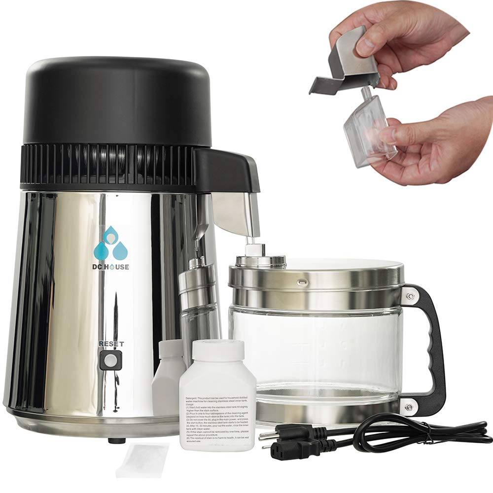ECO-WORTHY 1 Gallon Water Distiller -Pure Water Distillation with Glass-Lined Nozzle Filter and Manual Power Switch Brushed Stainless Steel Distilling Machine for Home Countertop