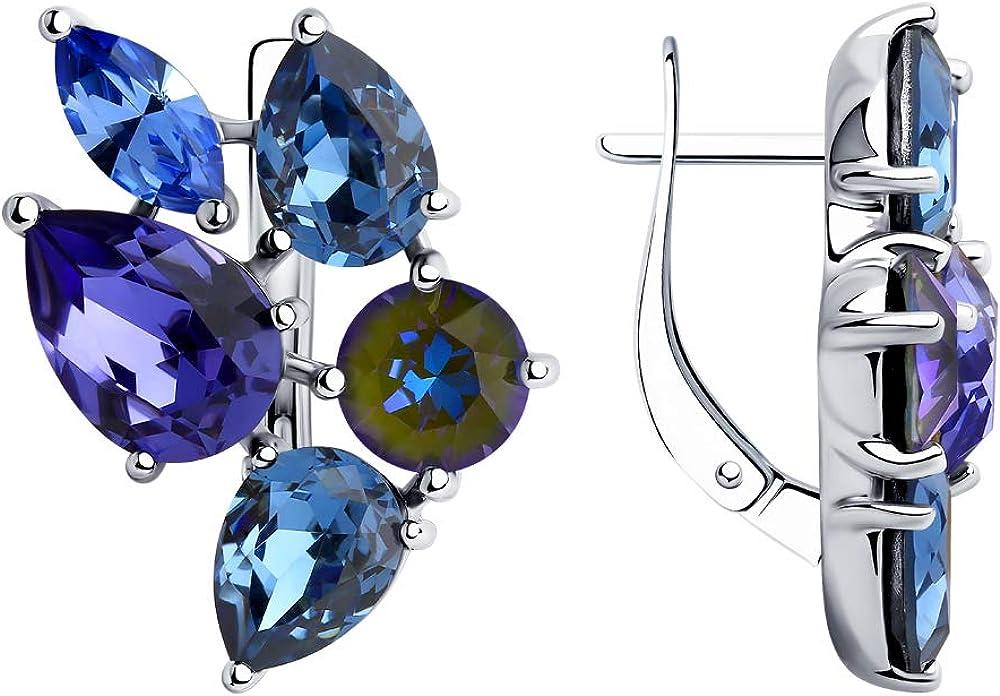 Aretes de plata 925 con cristales azul claro y oscuro de Swarovski
