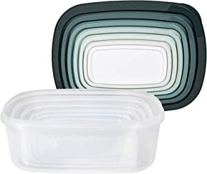 Cook with Color Rectangular Food Storage Containers with Lids, Easy-Find Nesting Plastic Containers, 14 Piece Set (Teal Ombre)