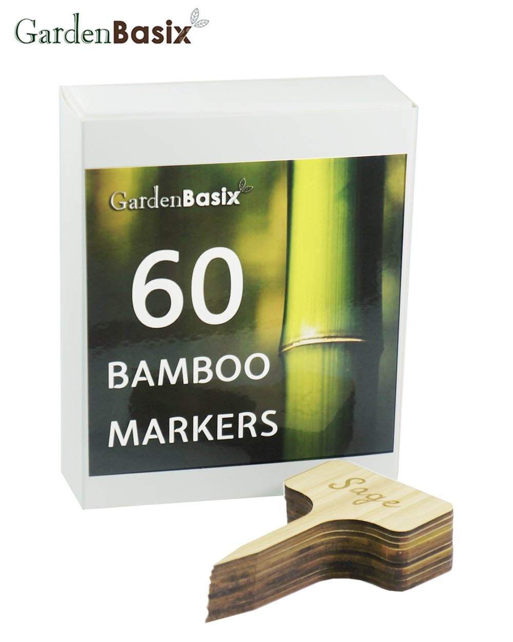 50 Bamboo Garden Plant Labels & 10 Engraved Herbs Garden Stakes Name Types for Potted Flowers Vegetables 4 inch Tall (60)