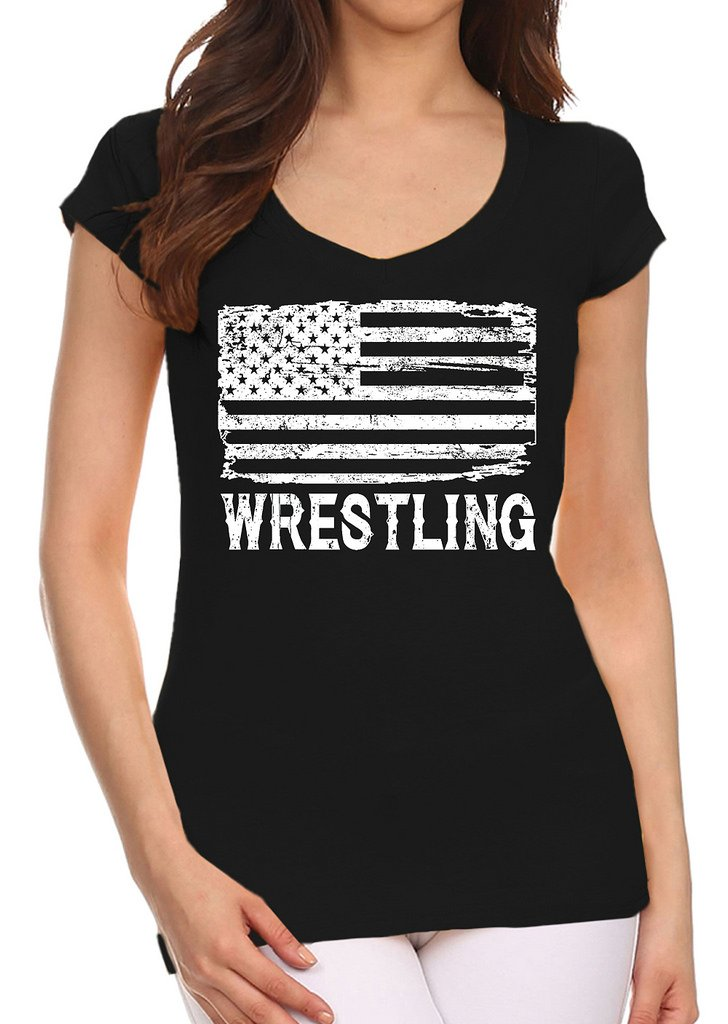 Interstate Apparel Inc Junior's Wrestling American Flag Black V-Neck T-Shirt Large Black