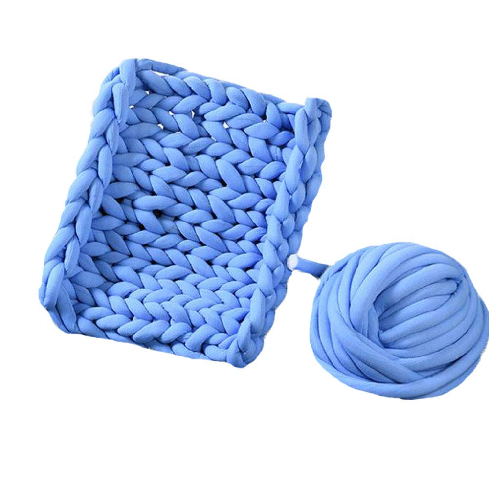Blue Arm Knit Chunky Knit Playmat Rug Blanket,50''x60'' Mat Kid's Room Play Carpet Nursery Decor,Cotton Tube Yarn Knitted Blanket,Photo Prop