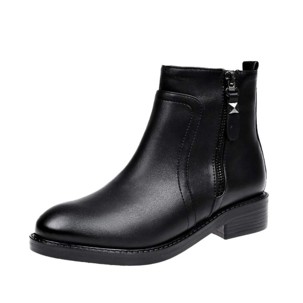 Frauen Winter Chelsea Stiefeletten Low Block Heel Martin Stiefel Warm Lining Zipper Stiefelies Schwarze Schuhe