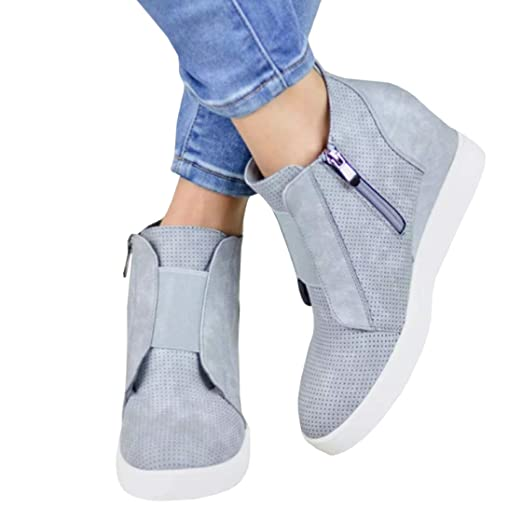 24f42e7078ad7 Coutgo Womens Wedge Platform Sneakers Side Zipper High Top Ankle Booties  Perforated Flat Shoes