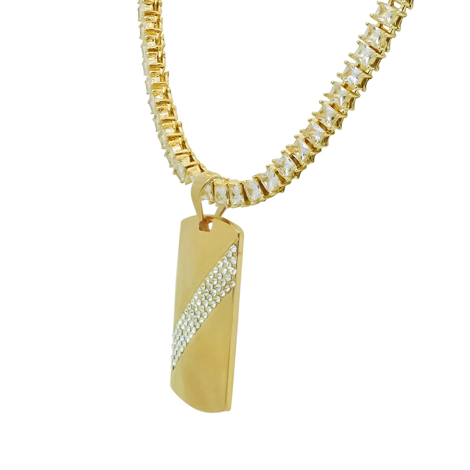 Stainless Steel Yellow Gold-Tone Iced Out Hip Hop Bling Rectangle Diagonal Dog Tag Pendant 1 Row Square Cubic Zirconia Princess Cut Stone Tennis Chain 24 Necklace Choker Chain