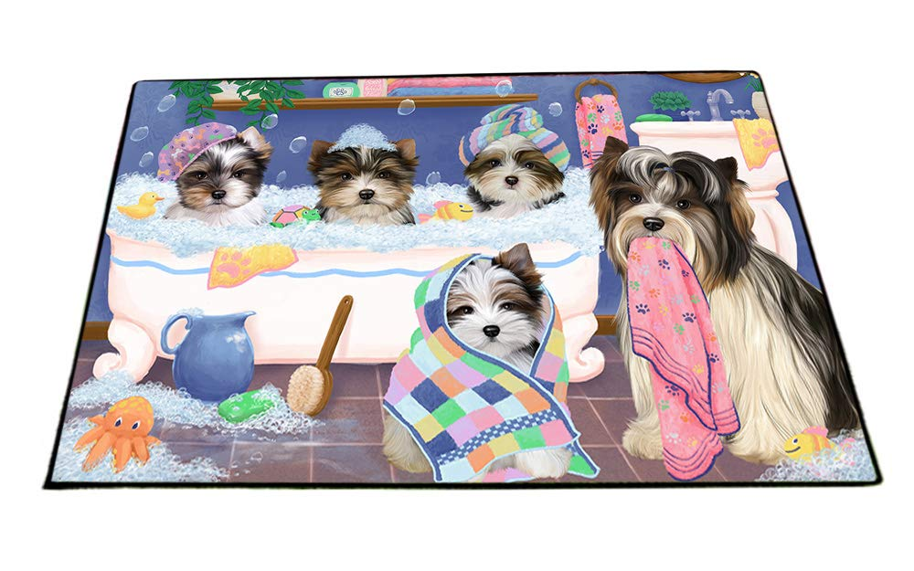 Rub A Dub Dogs In A Tub Biewer Terriers Dog Floormat FLMS53481 (24x36) by Doggie of the Day