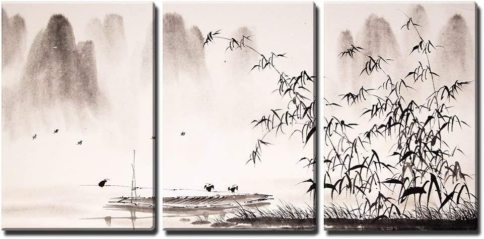 Amazon Com Wall26 3 Piece Canvas Wall Art Chinese Landscape Ink Painting Modern Home Art Stretched And Framed Ready To Hang 24 X36 X3 Panels Posters Prints