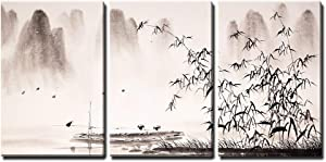 "wall26 - 3 Piece Canvas Wall Art - Chinese Landscape Ink Painting - Modern Home Art Stretched and Framed Ready to Hang - 16""x24""x3 Panels"
