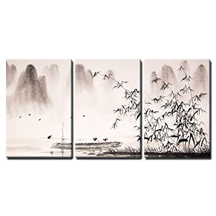 b30dbff3a Amazon.com: wall26 - 3 Piece Canvas Wall Art - Chinese Landscape Ink  Painting - Modern Home Decor Stretched and Framed Ready to Hang - 16