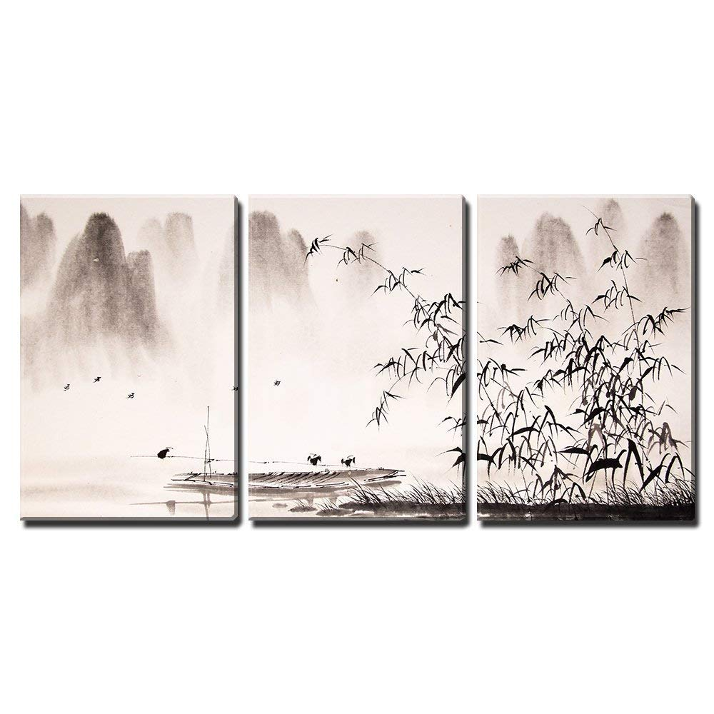 wall26 - 3 Piece Canvas Wall Art - Chinese Landscape Ink Painting - Modern Home Decor Stretched and Framed Ready to Hang - 16''x24''x3 Panels