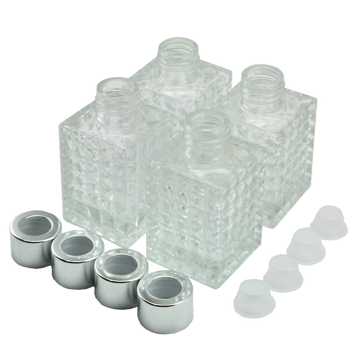 8872de565991 Ougual Set of 4 Square Glass Essential Oils Diffuser Bottles (100ML, Gold  Caps)