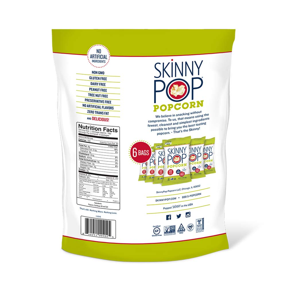 SKINNYPOP Original Popped Popcorn, Skinny Pack, Individual Bags, Gluten Free Popcorn, Non-GMO, No Artificial Ingredients, A Delicious Source of Fiber, 3.9 Ounce (Pack of 10) by SkinnyPop (Image #1)
