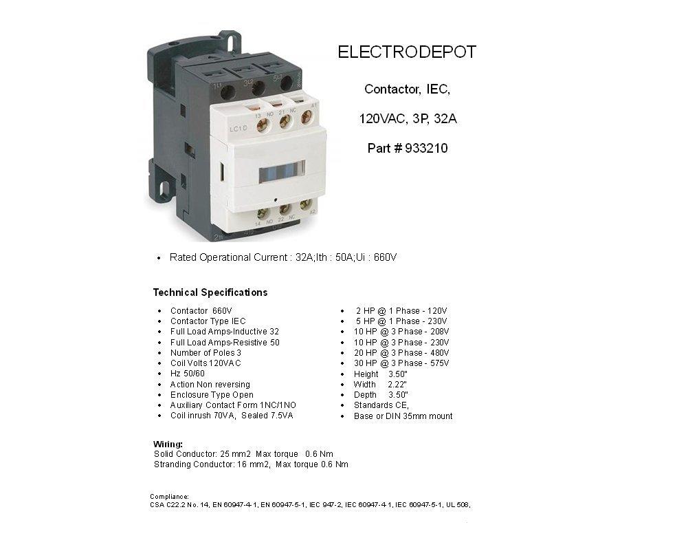61wRcU%2B2HLL._SL1001_ amazon com 40a contactor 110v 120v coil, 3 pole, 50a lighting iec cpy fan coil unit wiring diagram at eliteediting.co