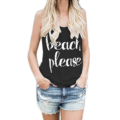 7b72c28a222 Wanshop Women s Summer Casual Sleeveless Print Letter Tank Tops Blouse  T-Shirt Cami Vest (
