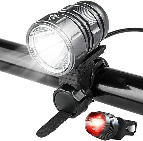Luces LED para bicicleta, potentes 1200 lúmenes, batería recargable de 4400 mAh, juego de luces delanteras de bicicleta, liberación rápida, con luz trasera para bicicleta, color gris: Amazon.es: Deportes y aire libre