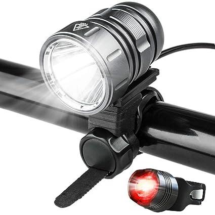 Luces LED para bicicleta, potente 1200 lúmenes, batería recargable de 4400 mAh, juego