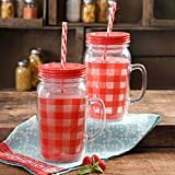 The Pioneer Woman Simple Homemade Goodness 16-Ounce Charming Check Double-Wall Mason Jar with Lid and Handle, Set of 2