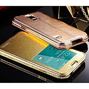 DHL 50Pcs/lot Window PU Leather Case For Samsung Galaxy S5 i9600 Aluminum Metal Frame Phone Cover With Diamond Wholesale --- Color:Pink Case