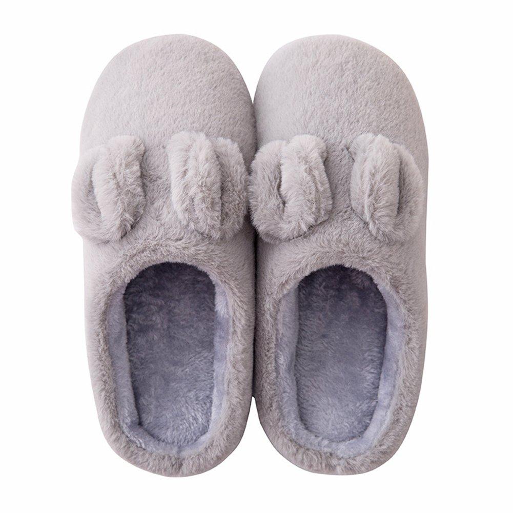 Btrada Winter Women/Men Cotton Slippers - Lovely Bunny Home/Indoor Cozy Fur Lining Couple Slippers