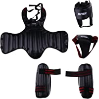 MagiDeal 4pcs Set PU Leather Sanda Training Equipment Boxing Protective Gear Thick Head Guard Chest Protector Jockstrap Leg Shield