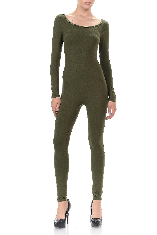 7Wins JJJ Women Catsuit Cotton Lycra Tank Long Sleeve Yoga Bodysuit Jumpsuit