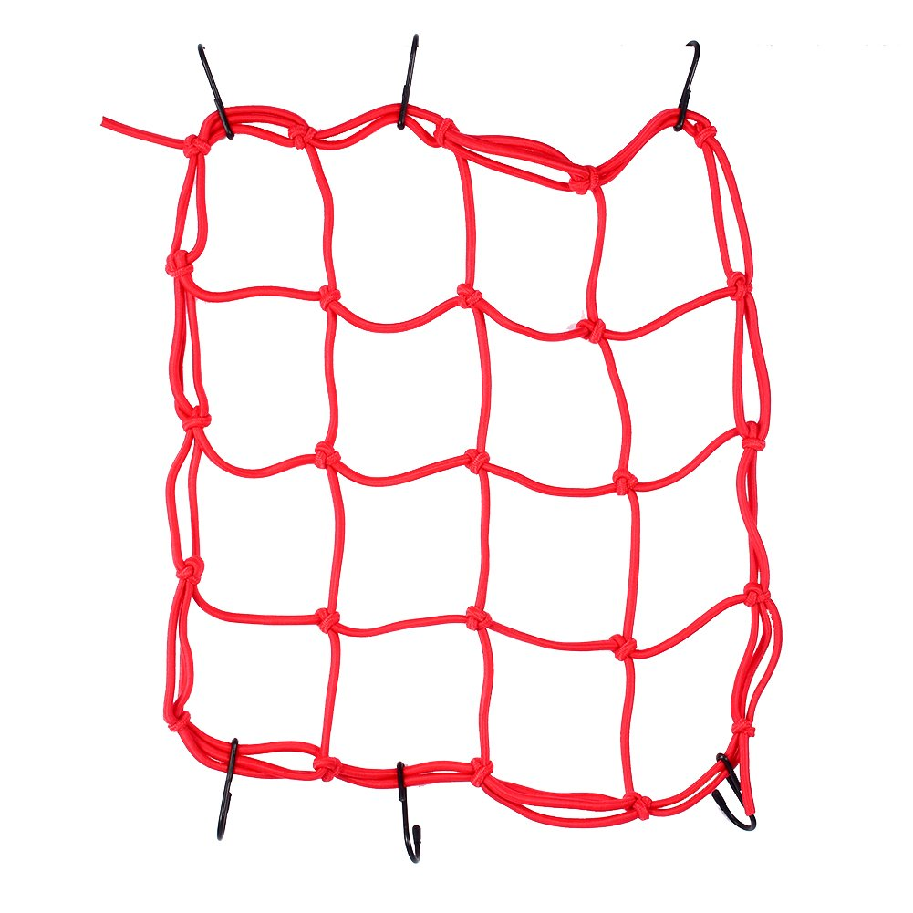 Yosoo Heavy Duty Multi-Purpose 11.8' x 11.8' Stretchable Bungee Cargo Net for Motorcycles and ATV, with 6 Adjustable Plastic Hooks (Red)