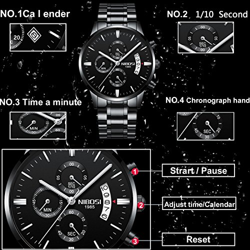 NIBOSI-Mens-Watches-Luxury-Fashion-Casual-Dress-Chronograph-Waterproof-Military-Quartz-Wristwatches-For-Men-Stainless-Steel-Band-Black-Color-2309-QHYDgd