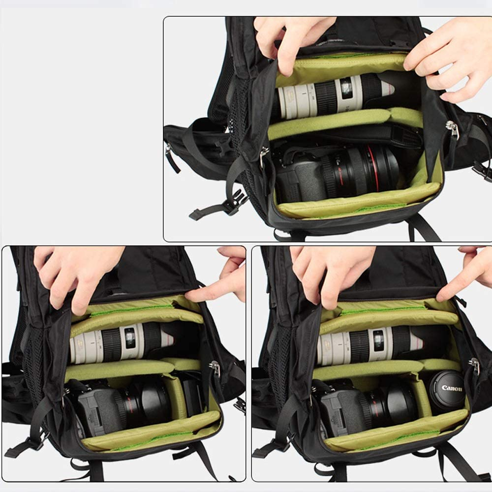 Carrier-Bag Knapsack New Professional SLR Camera Bag Waterproof Anti-Theft Shock Travel Backpack with Rain Cover for Sony Canon Nikon Camera Backpack Tripod Lens and Accessories Size 27 19 48cm Yell