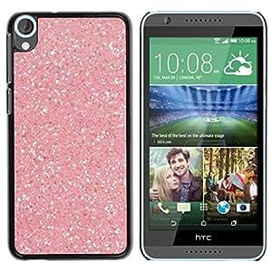 Caucho caso de Shell duro de la cubierta de accesorios de protección BY RAYDREAMMM - HTC Desire 820 - Pink Snow Sparkling White Diamond