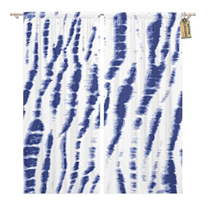 Amazon com: Golee Window Curtain Navy Shibori Indigo Blue