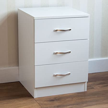 Home Discount White Bedside Cabinet Chest Of Drawers 3 Drawer