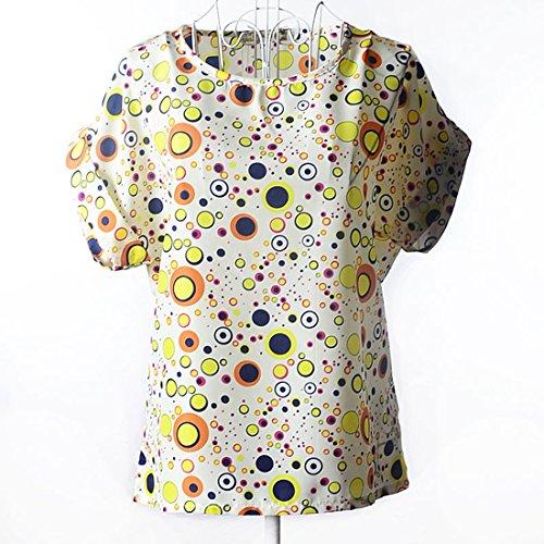 BienBien Blusa de Gasa Mujer Camiseta Estampada Top Manga Corta T Shirt Verano Chica Dolman Manga Caftán Playa Tallas Grandes Modelo 12