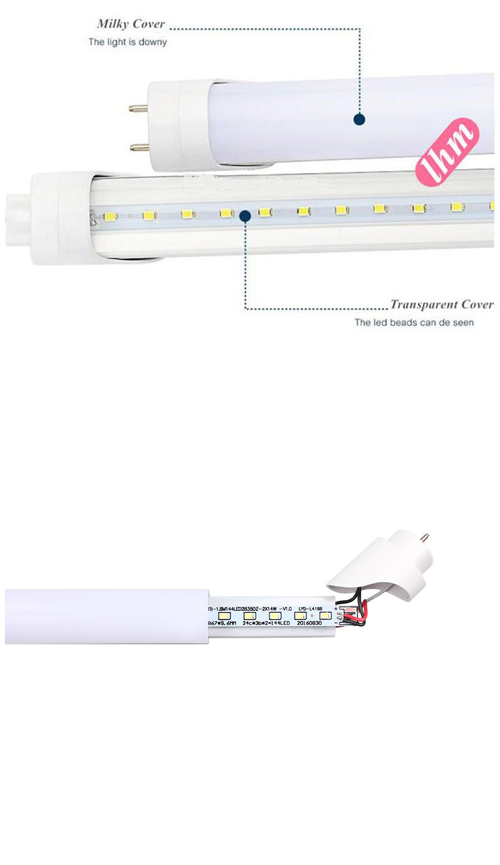 Easy-Installing & Eco-Friendly T8 LED Tube Light - 2FT 24'' 10W (18W Equivalent), Double-End Powered, Milky Cover, Works from 85-265VAC Fluorescent Replacement Lamp (1, Cool White 6000K-6500K) by Aurora Australis (Image #4)