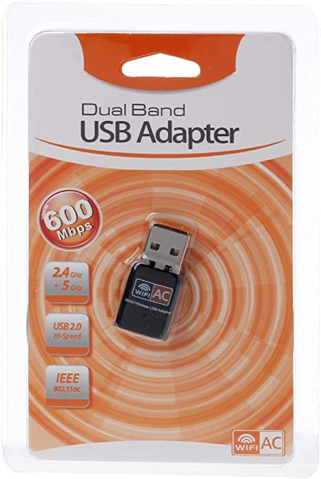 certylu Adaptador de WiFi USB inalámbrico AC600 2.4GHz 5GHz WiFi Antena PC Tarjeta de Red Receptor Banda Dual 802.11b / n/g/AC 600 Mbps