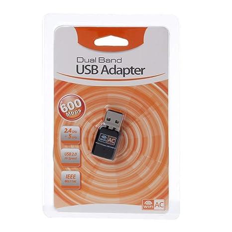 certylu Adaptador de WiFi USB inalámbrico AC600 2.4GHz 5GHz ...