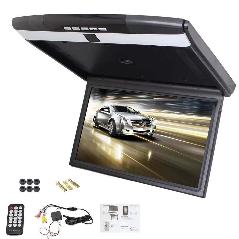 New Car Roof Mount Display Flip Down Monitor Overhead Player HD 1080P Video Player Wide LCD Screen Display with FM Transmit USB SD AV Input