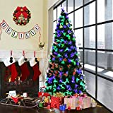 Goplus 7FT Artificial Christmas Tree Pre-Lit Optical Fiber Tree 2 Flash Modes W/ UL Certified Multicolored LED Lights & Metal Stand