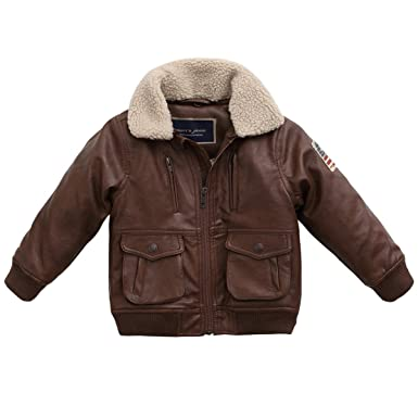 marc janie Baby Toddler Boys' Military Flight Leather Bomber ...