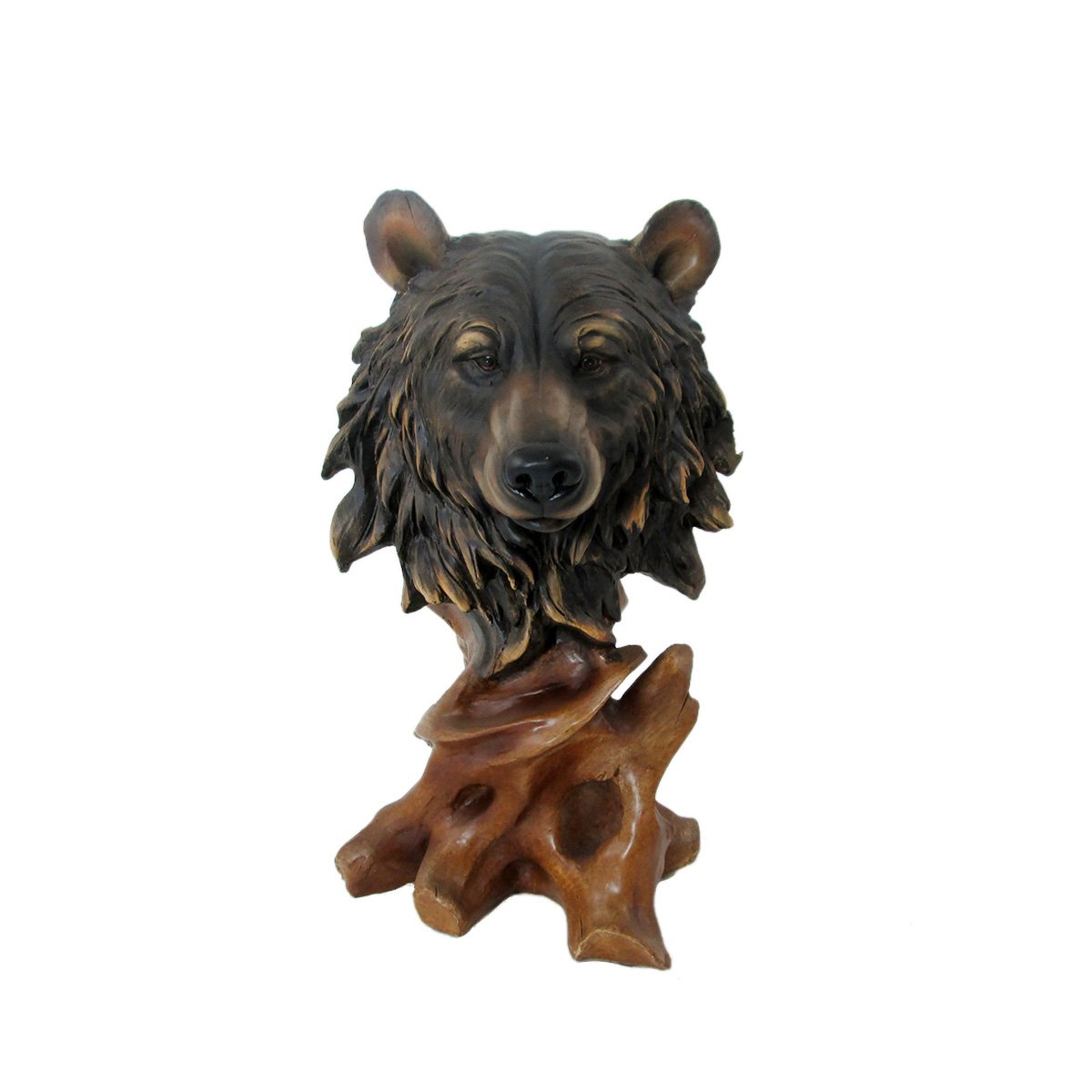 Animal Wildlife Collection Faux Wood Bear Head Bust Unison Gifts