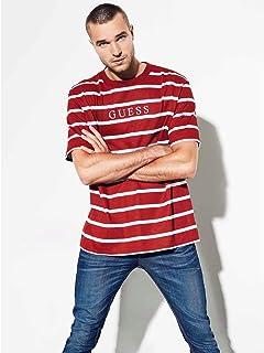 1b8fd51f4ec3 Guess Men's Short Sleeve Walden Stripe Crew Neck Shirt   Amazon.com