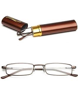 2e5ee81152 VEVESMUNDO Portable Reading Glasses Metal Classic Narrow Frame Spring Hinge  Eyeglasses…
