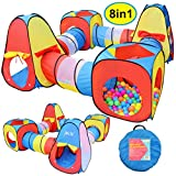 JOYIN 8 in 1 Pop-up Play Tent Tunnel Including 4 Kids Play Tunnels, 2 Cubic Tents and 2 Triangle Tents Perfect for Ball Pit Playing