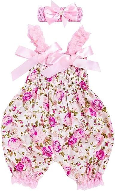 Ropa Bebe Niña Verano 2019 SHOBDW Mono Bebé+Diadema Peleles para Recien Nacido Manga del Volante Linda Bow Floral Counjunto De Ropa Bebé Niña: Amazon.es: Ropa y accesorios
