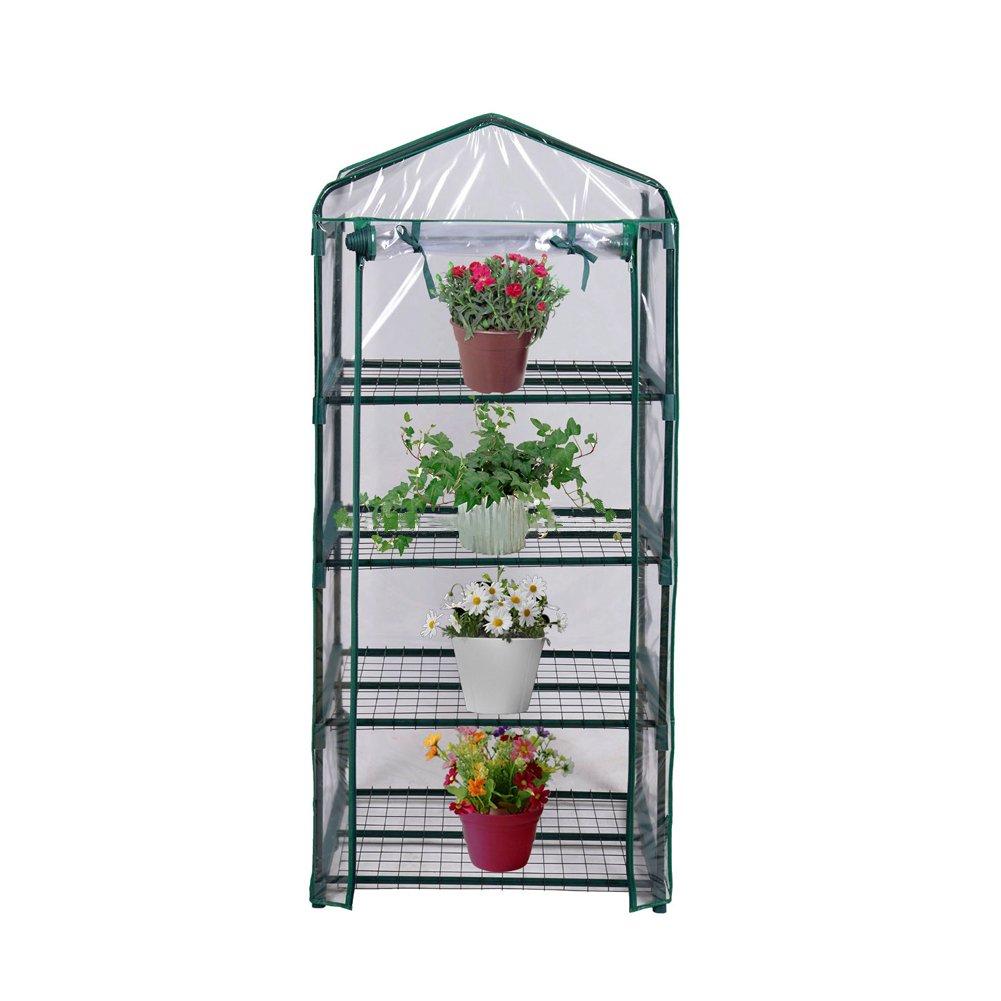 Blissun 4 Tier Mini Greenhouse, 27'' L x 19'' W x 62'' H (green)