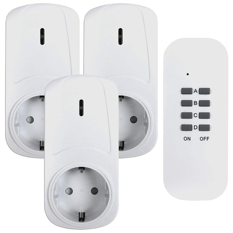 wei/ß 3680W 3er Set f/ür den Innenbereich Indoor Kindersicherungsschutz Funksteckdosen Set mit Fernbedienung CSL LED-Statusanzeige bis zu 25m IP20