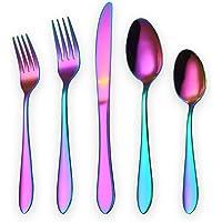 Homquen - Juego de cubiertos de 20 piezas, juego de 5 piezas para servir, 6 cuchillos para carne, Vajilla, D-Rainbow 20 piezas, 20