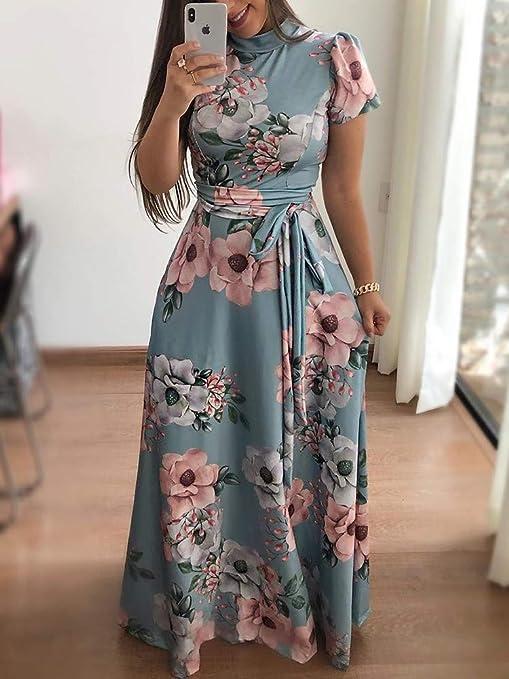 fa4daa6940cdc Amazon.com  ONine Women s Floral Printed Maxi Dress Short Sleeve Casual  Swing Long Maxi Dress with Belt  Clothing